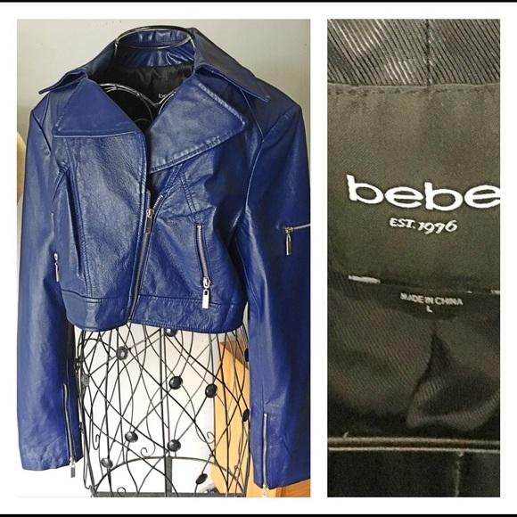Bebe Jackets Coats Royal Navy Blue Leather Jacket Poshmark